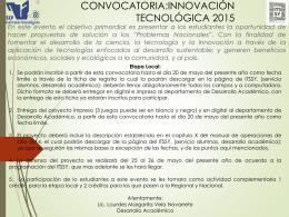 CONVOCATORIA:INNOVACIÓN TECNOLÓGICA 2015