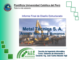 Metal Técnica S. A. Área de Recursos Humanos