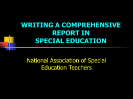 Writing a Comprehensive Report in Special