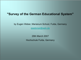 The German Educational System