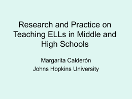 Research and Practice on Teaching ELLs in Middle