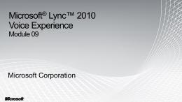 Module 09 - Microsoft Lync 2010