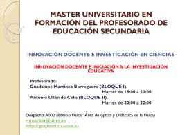 MASTER UNIVERSITARIO EN FORMACIÓN DEL PROFESORADO
