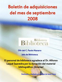 Boletín de adquisiciones del mes de septiembre -