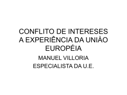 CONFLITO DE INTERESES A EXPERIÊNCIA DA UNIÀO