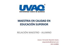 MAESTRIA EN CALIDAD EN EDUCACIÓN SUPERIOR
