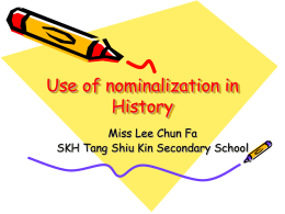Use of nominalization in History study