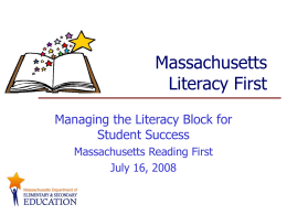 Managing the Literacy Block for Student Success