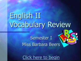 English II Vocabulary Review