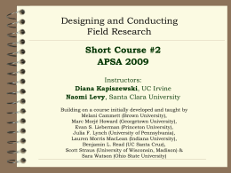 Strategies for Field Research In Comparative and