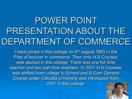 POWER POINT PRESENTATION ABOUT THE DEPARTMENT OF