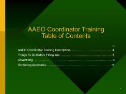 AAEO Coordinator Training
