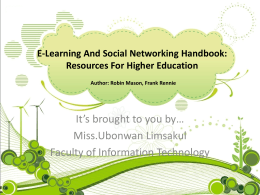 Chapter1 : Social Networking as an Educational