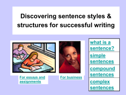 Discovering sentence styles & structures for