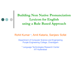 Building Non Native Pronunciation Lexicon for