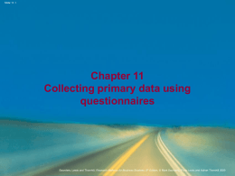 Chapter 11 Collecting primary data using