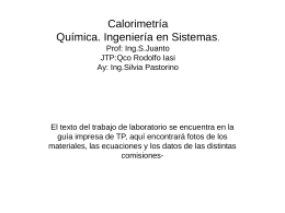 Calorimetría Química. Ingeniería en Sistemas.