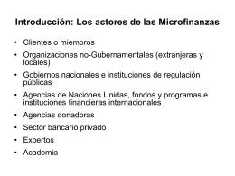Introducción: Los actores de las Microfinanzas