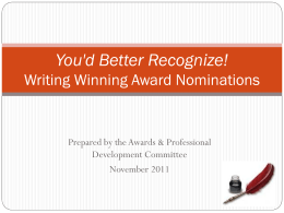Writing Winning Award Nominations