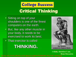 Chapter 5 (Part I) - Critical Thinking-