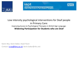 Low intensity psychological interventions for Deaf