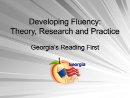 Developing Fluency: Research and Practice