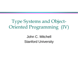 Type Systems and Object-Oriented Programming (IV)
