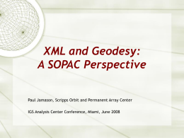 XML and Geodesy: A SOPAC
