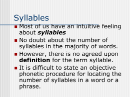 Syllables - California State University,