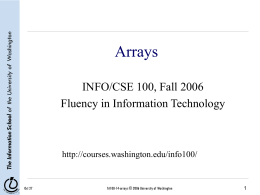 Arrays - University of Washington