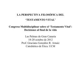 LA PERSPECTIVA FILOSÓFICA DEL 'TESTAMENTO VITAL'