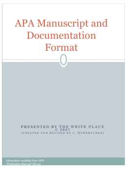 APA Manuscript and Documentation Format
