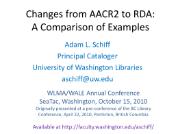 Changes from AACR2 - University of Washington