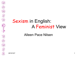 Sexism in English: A Feminist View