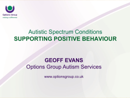 Welcome to Options Group Autism Seminar