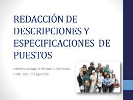 REDACCIÓN DE DESCRIPCIONES DE PUESTOS