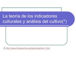 La teoría de los indicadores culturales y análisis
