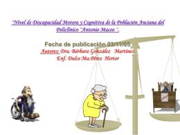 ¨Nivel de Discapacidad Motora y Cognitiva de la