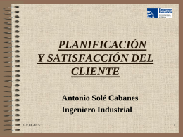 PLANIFICACIÓN Y SATISFACCIÓN DEL CLIENTE