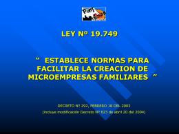 LEY Nº 19.749 - IL. Municipalidad de Punta Arenas
