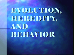 EVOLUTION, HEREDITY, AND BEHAVIOR