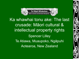 The last crusade: Māori cultural & intellectual
