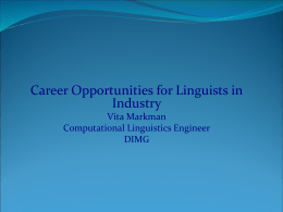 Career Opportunities for Linguists in Industry -