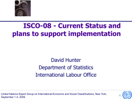 ISCO-08 - Current Status and plans to support