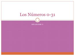 Los Números 0-31