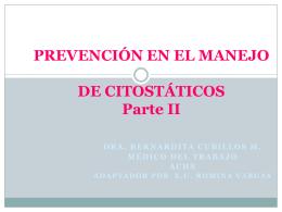 PREVENCIÓN EN EL MANEJO DE CITOSTÁTICOS