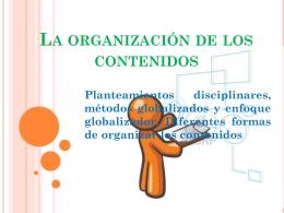 La organización de los contenidos