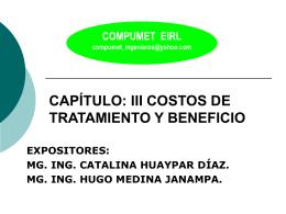 CAPÍTULO: III COSTOS DE TRATAMIENTO Y BENEFICIO