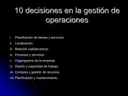 10 decisiones en la gestión de operaciones