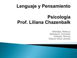 Lenguaje y Pensamiento Psicología Prof. Liliana